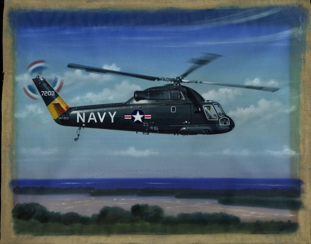 Image for US Navy Kaman HU2K-1 #7203 color painting on cheesecloth 1960s