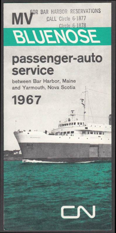 Canadian National MV Bluenose Bar Harbor-Yarmouth schedule 1967