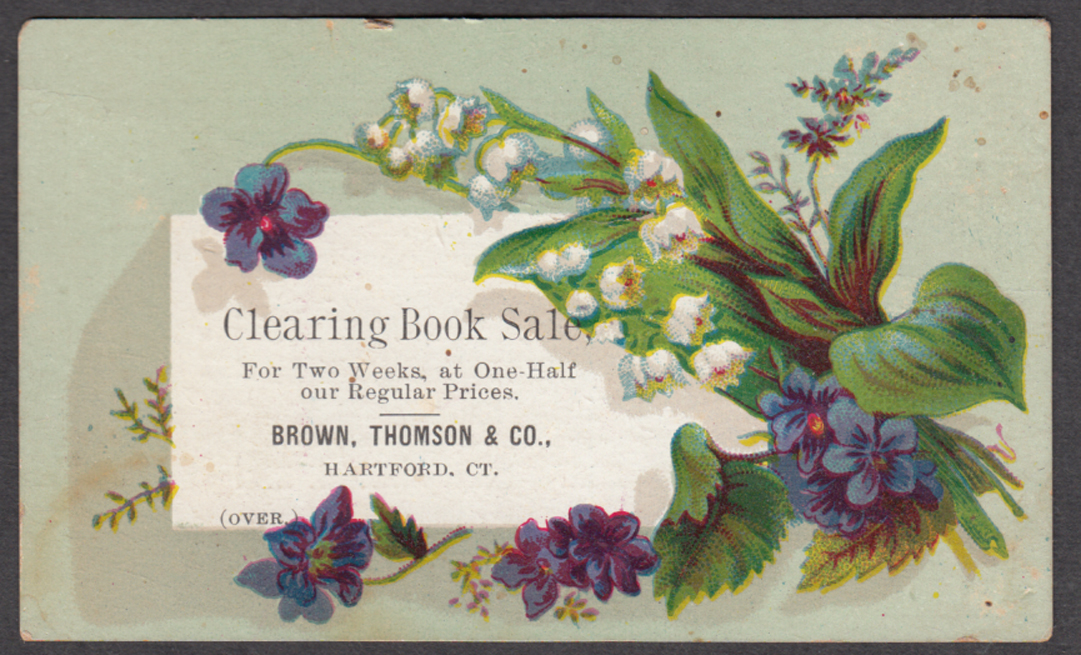 Brown Thomson Hartford CT Clearing Book Sale trade card 1880s
