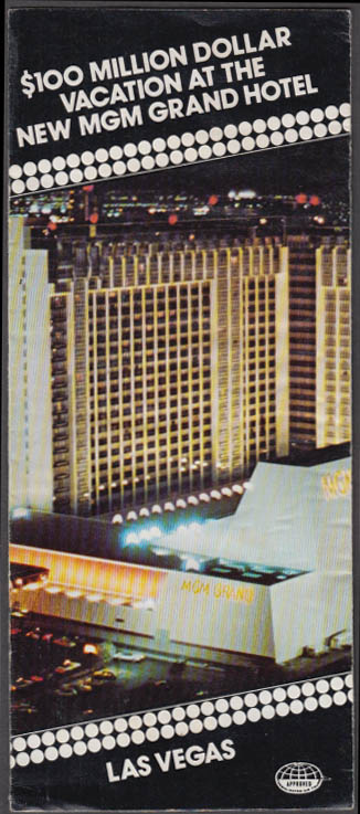 $100 Million Dollar Vacation at the New MGM Grand Hotel folder Las Vegas 1976