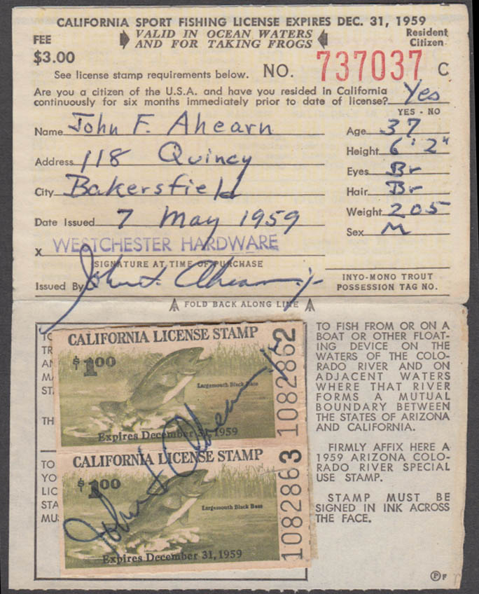 Image for California Sport fishing license 1959 Ocean Waters and for taking frogs
