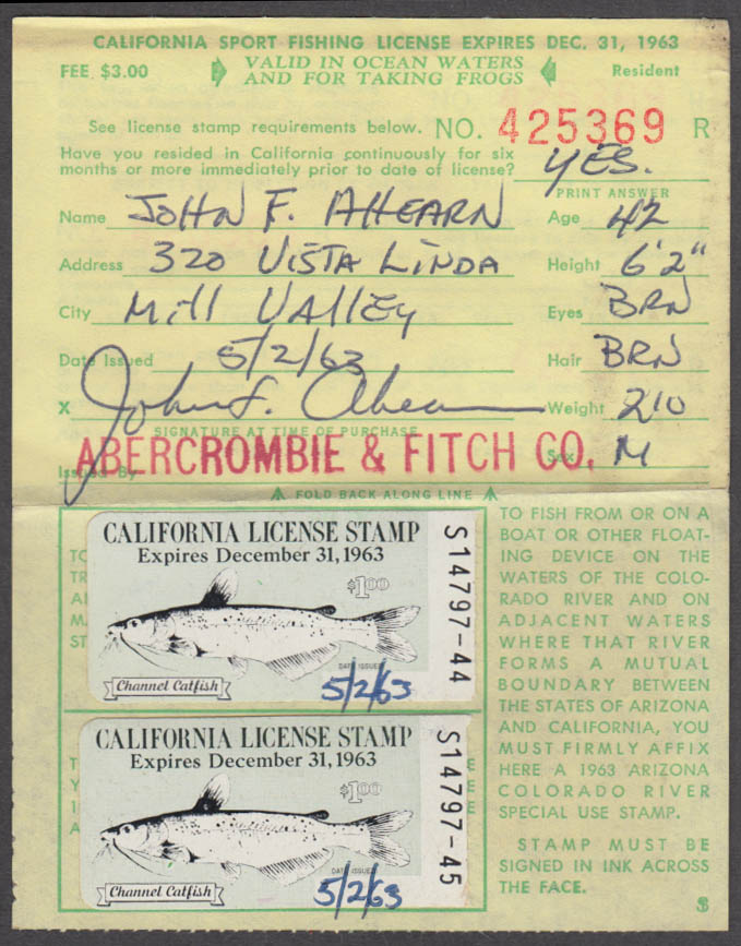 Image for California Sport fishing license 1963 Ocean Waters and for taking frogs