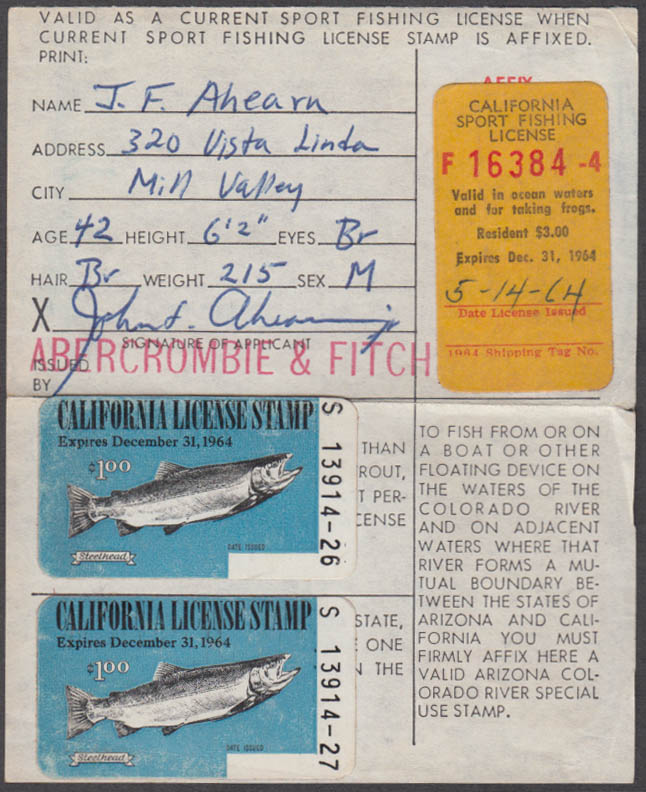 California Sport fishing license 1964 Ocean Waters and for taking frogs