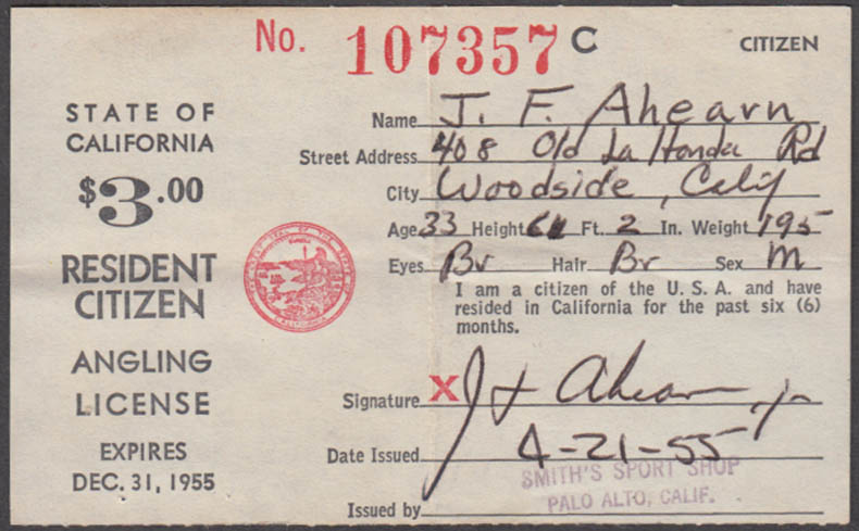 State of California Resident Citizen Angling fishing license 1955