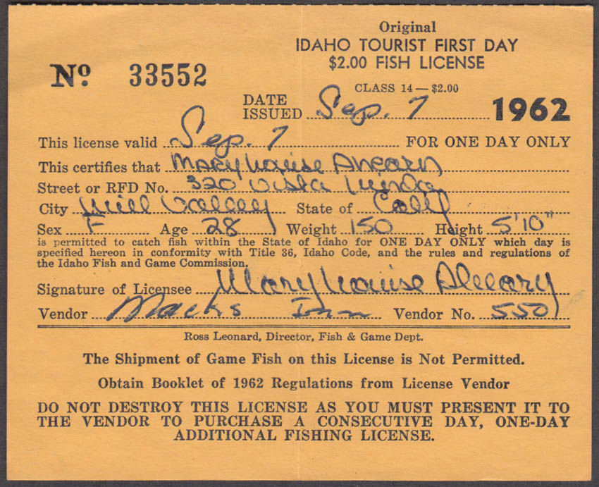 State of Idaho Tourist fishing license 1962 #33552