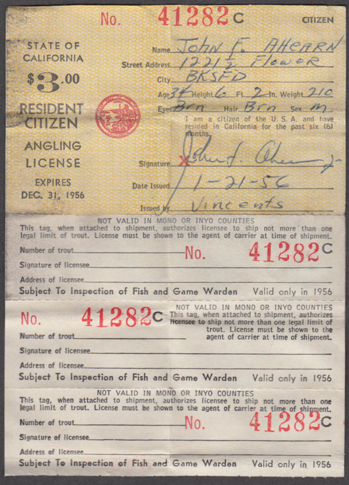 State of California Resident Citizen Angling fishing license 1956