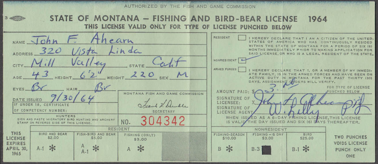 State of Montana Fishing & Bird-Bear license 1964 Fishing Only #304342