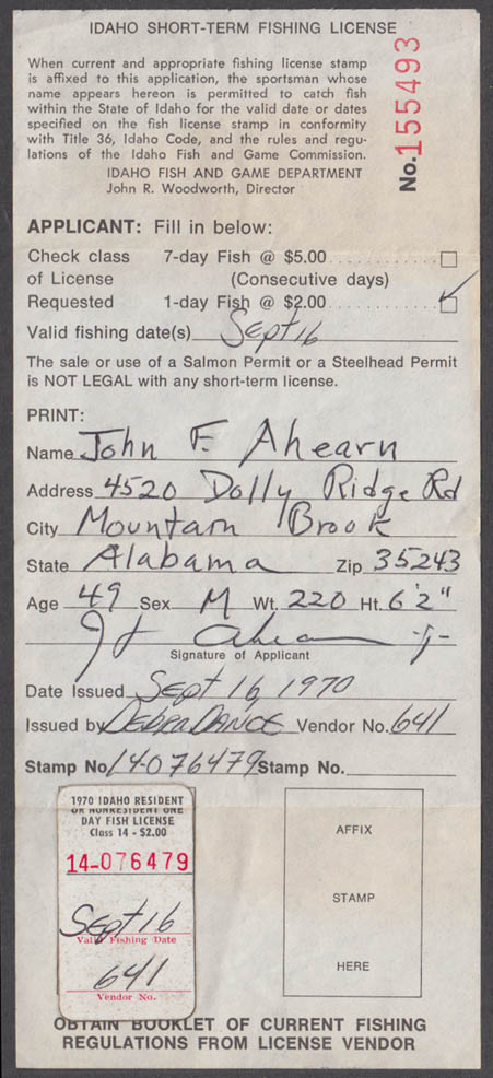 State of Idaho Tourist fishing license 9/16 1970