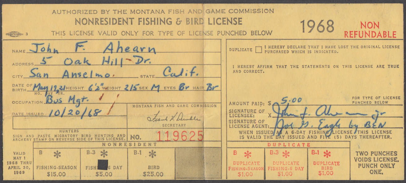 State of Montana Fishing & Bird-Bear license 1968 Fishing Only