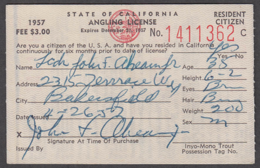 State of California Resident Citizen Angling fishing license 1957