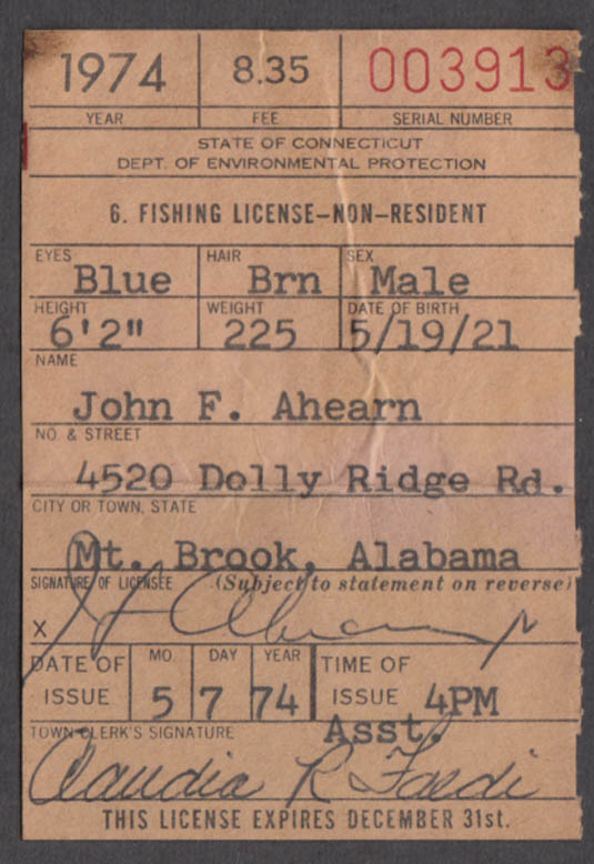 Image for State of Connecticut Non-Resident Fishing License fishing license 1974