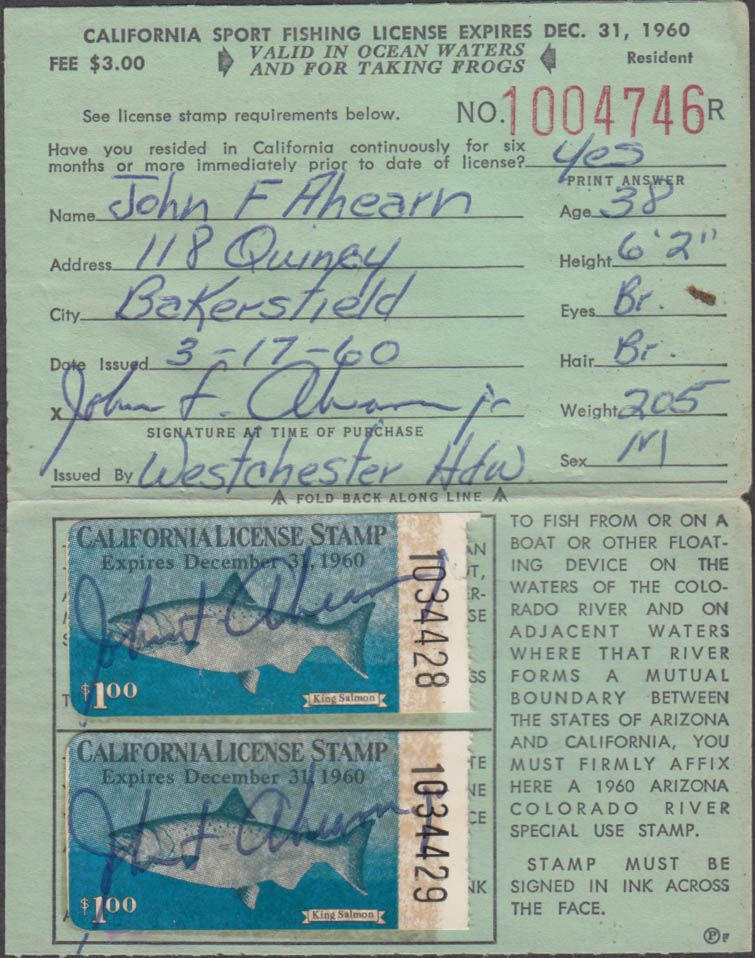 California Sport fishing license 1960 Ocean Waters and for taking frogs