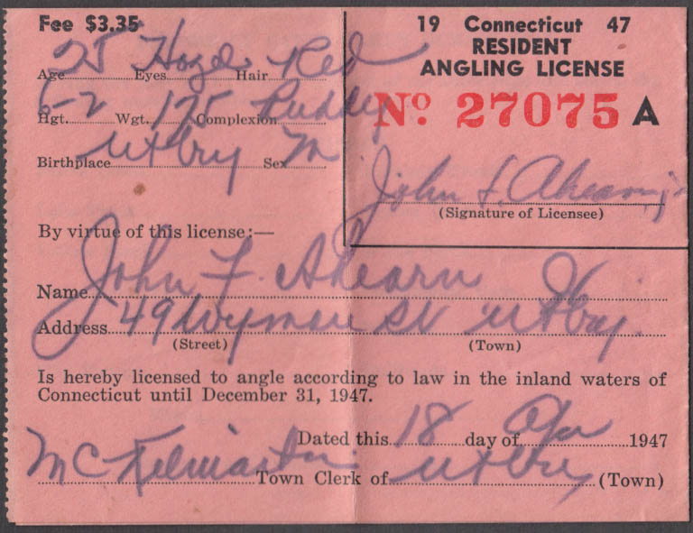 State of Connecticut Resident Angling Fishing License fishing license 1947