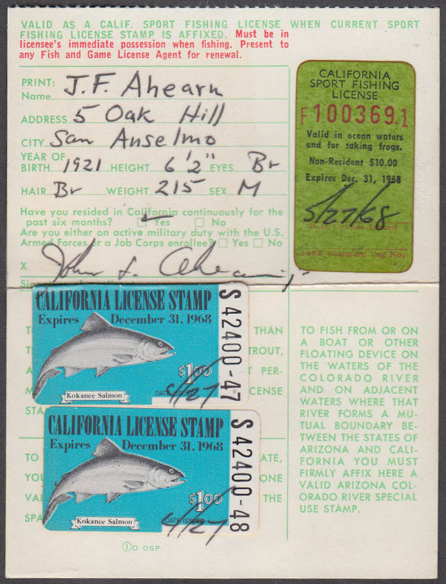 Image for California Sport fishing license 1968 Ocean Waters and for taking frogs