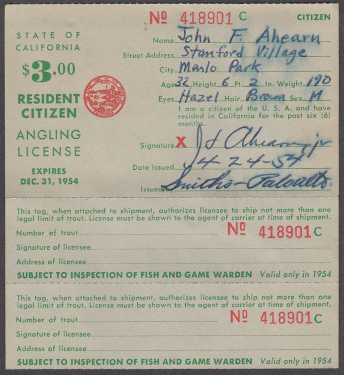 State of California Resident Citizen Angling fishing license 1954