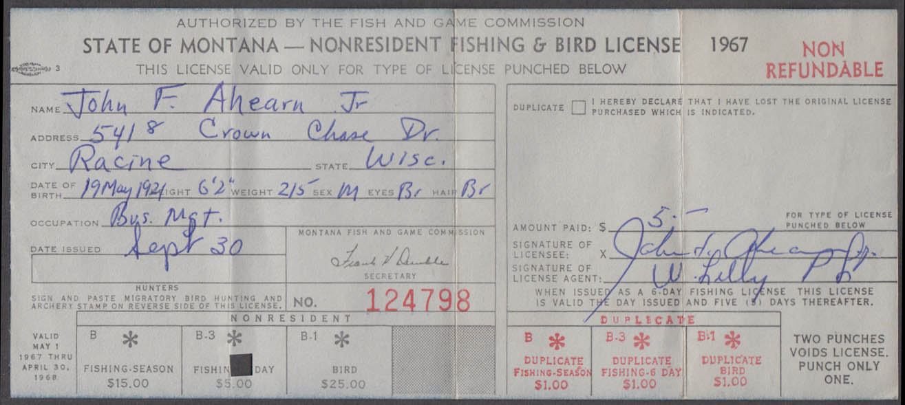 State of Montana Fishing & Bird-Bear license 1967 Fishing Only
