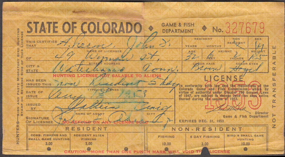 Image for State of Colorado Non-Resident 5-Day fishing license 1953