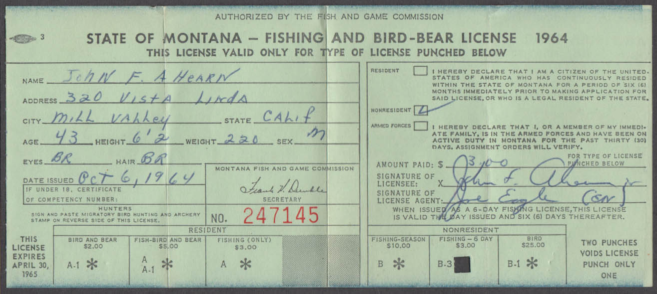 State of Montana Fishing & Bird-Bear license 1965 Fishing Only