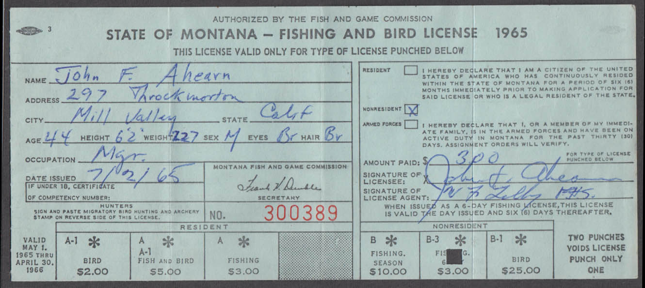 State of Montana Fishing & Bird-Bear license 1965 Fishing Only #300389