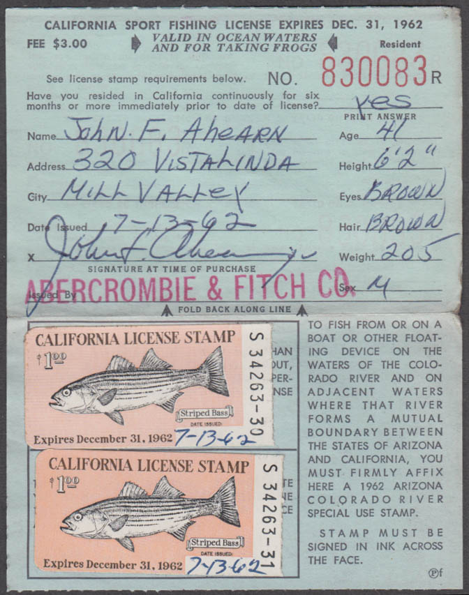 Image for California Sport fishing license 1962 Ocean Waters and for taking frogs