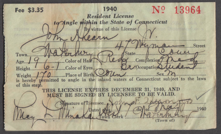 Image for State of Connecticut Resident Angling Fishing License fishing license 1940
