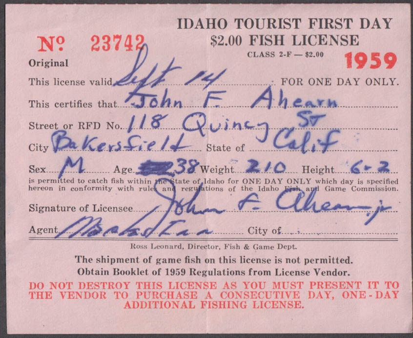 State of Idaho Tourist fishing license 1959