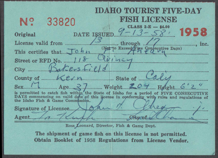 State of Idaho Tourist fishing license 1958