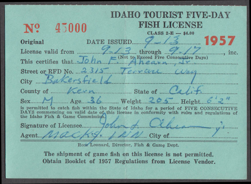 State of Idaho Tourist fishing license 1957