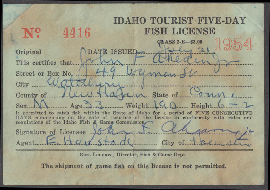 State of Idaho Tourist fishing license 1954
