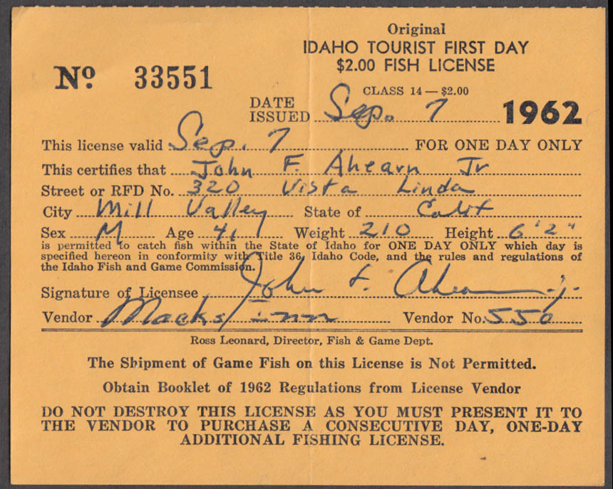 State of Idaho Tourist fishing license 1962 #33551