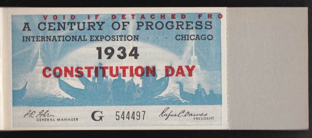 Image for Chicago Century of Progess Constitution Day ticket book 1934