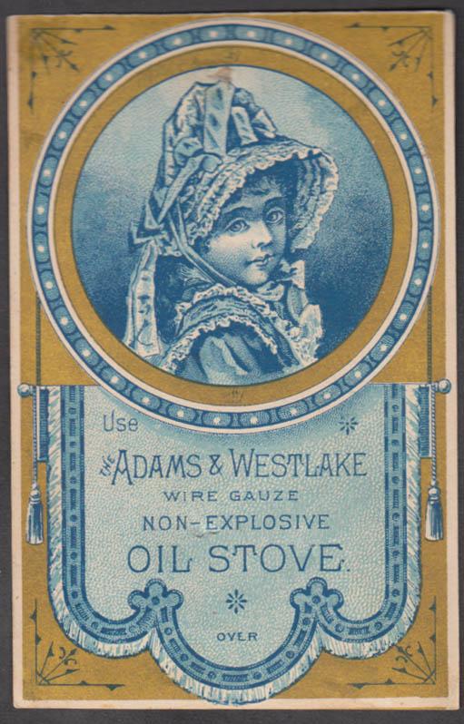 Adams & Westlake Non-Explosive Oil Stove trade card 1880s