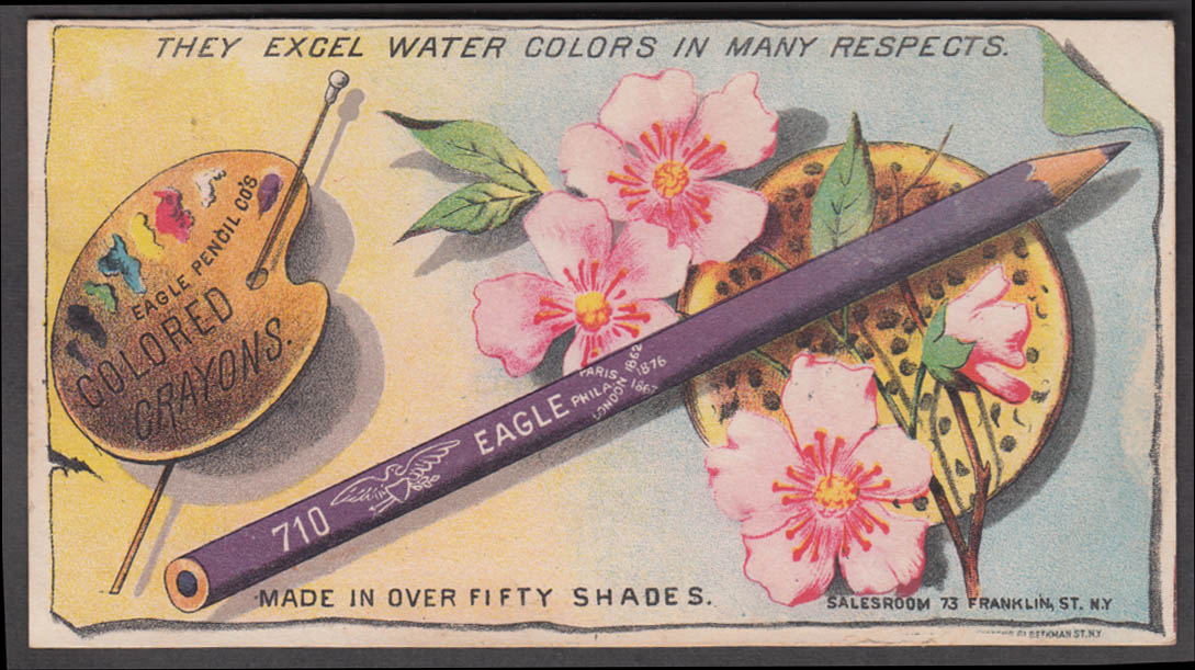 Eagle Water Color Pencils / Crayons trade card New York City 1880s