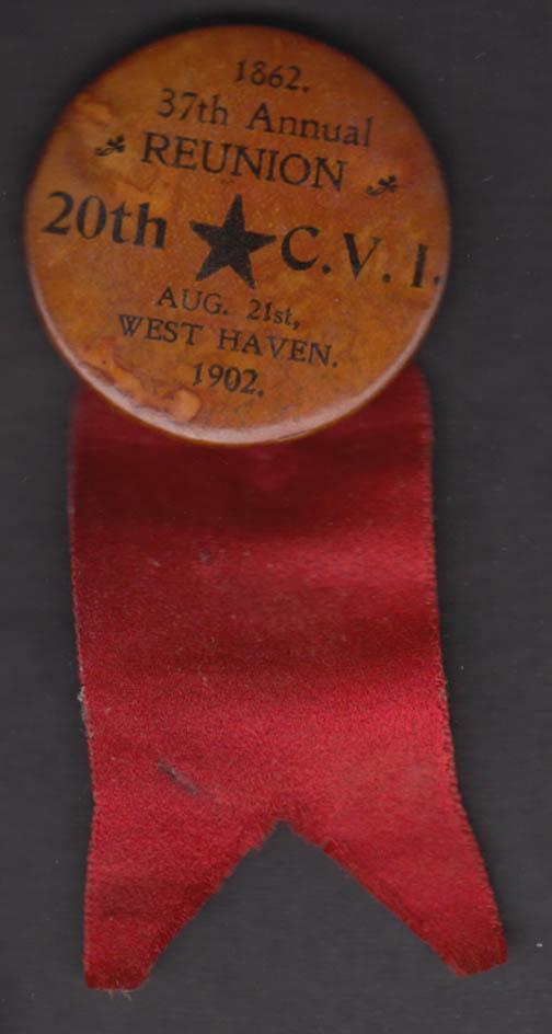 Connecticut 20th Regiment Civil War 37th Reunion 1862-1902 pinback West Haven