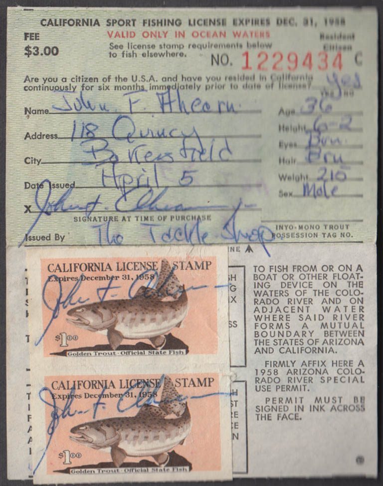 Image for California Sport fishing license 1958 Ocean Waters and for taking frogs