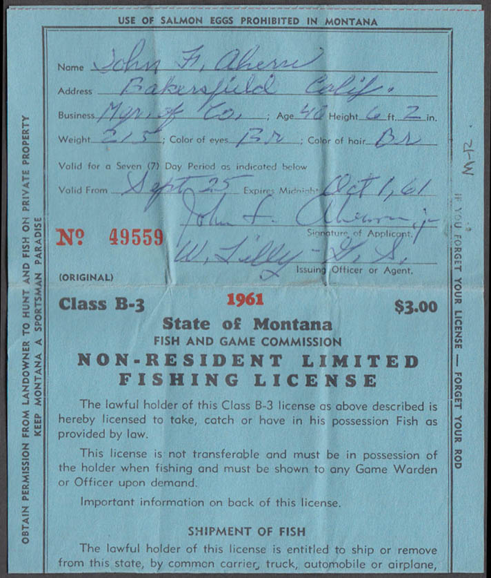State of Montana Non-resident Limited Class B-3 fishing license #47797