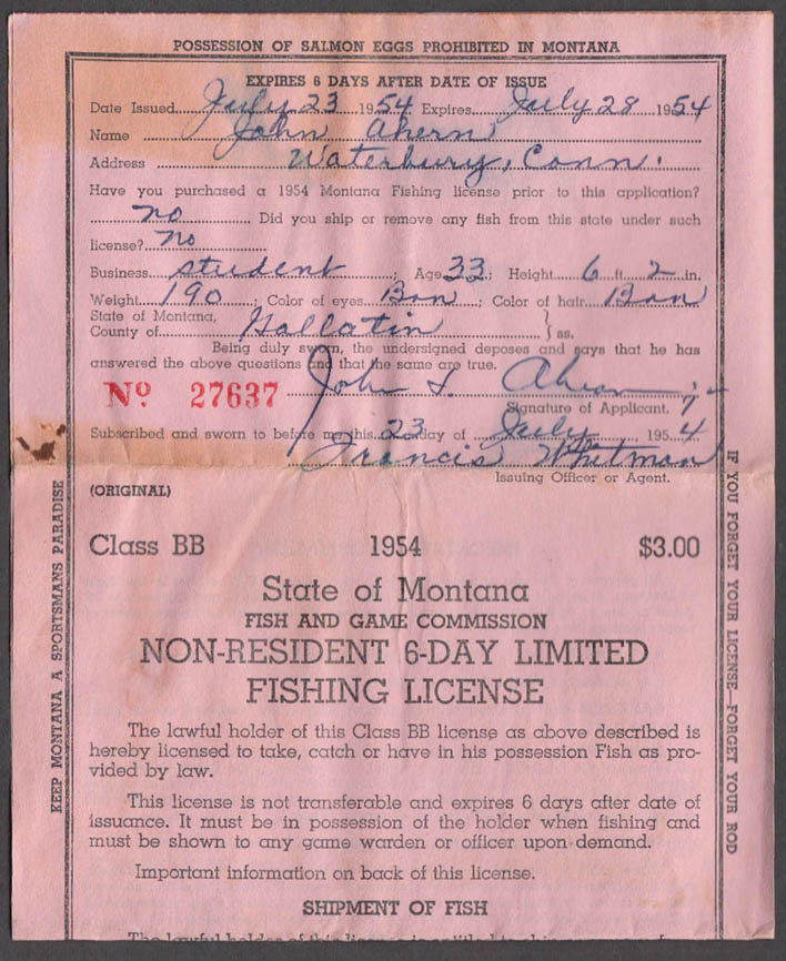 State of Montana Non-resident 6-Day Limited Class BB fishing license 1954