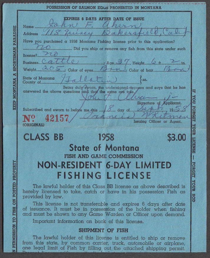State of Montana Non-resident 6-Day Limited Class BB fishing license 1958