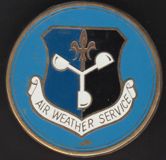 557th Air Weather Wing United States Air Force brass enamel paperweight