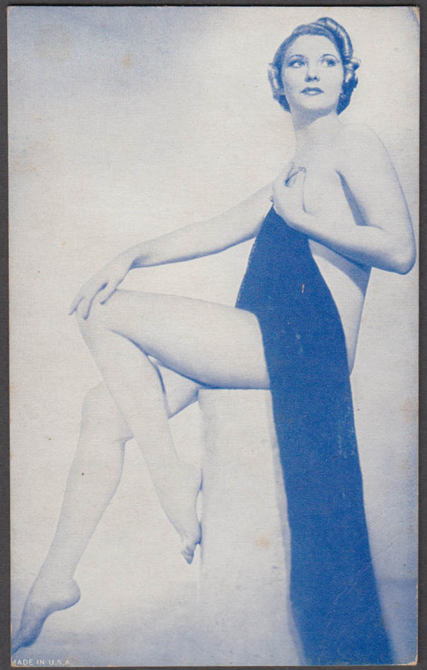 Seated nude draped carefully pin-up arcade card 1940s