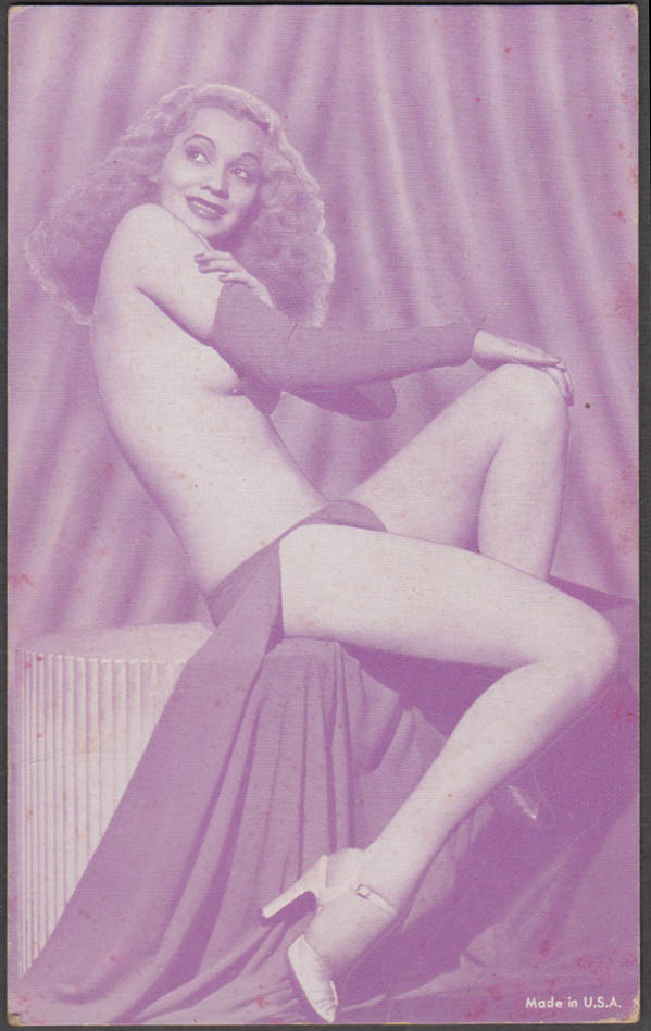 Seated topless blonde in heels pin-up arcade card 1940s