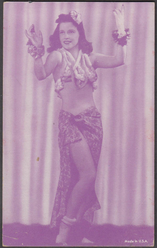 South Pacific? Dancing girl with flowers pin-up arcade card 1940s