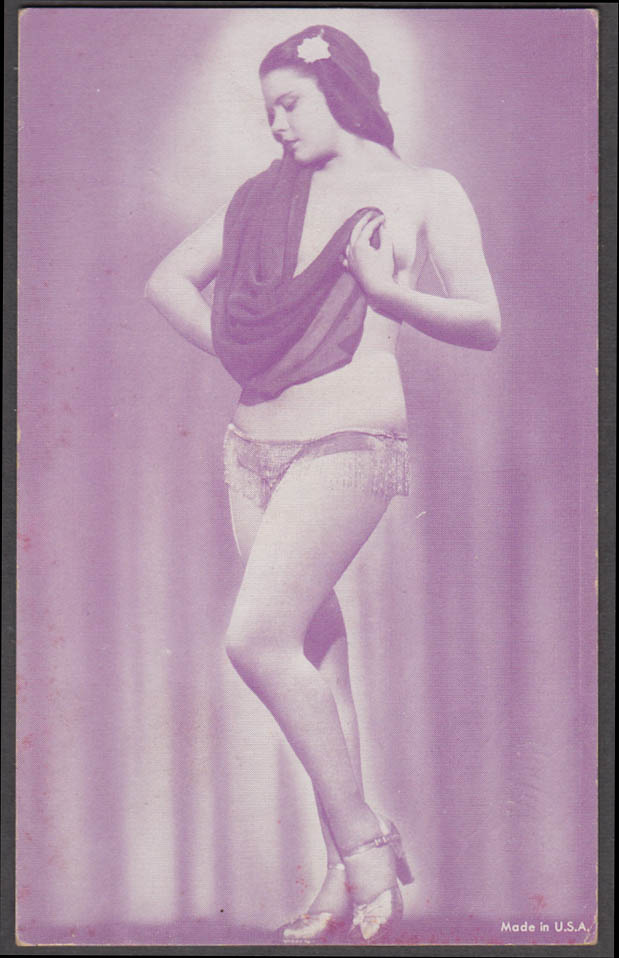 Standing brunette topless in heels with drape pin-up arcade card 1940s