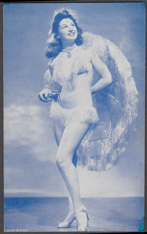 Brunette in fringed 2-piece heels & fringed umbrella pin-up arcade card 1940s