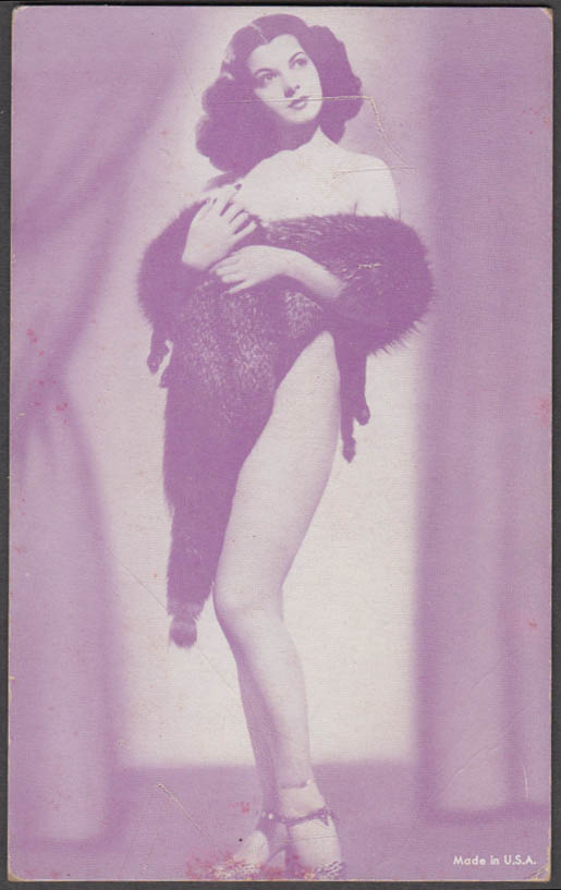 Nude brunette wrapped in a fur stole pin-up arcade card 1940s
