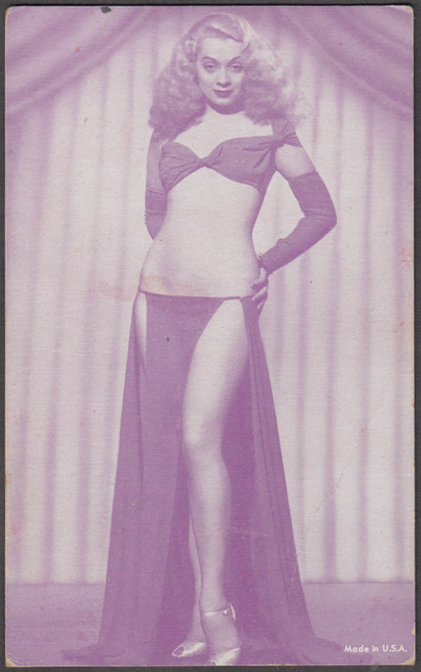Blonde in halter & side-split skirt & heels pin-up arcade card 1940s