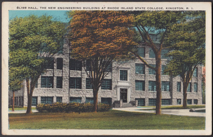 Bliss Hall Engineering Building RI State College Kingston postcard 1933