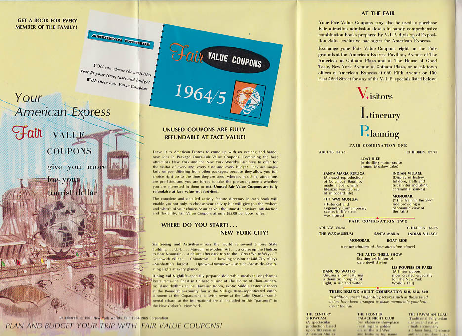 Image for New York World's Fair American Express Packages & Coupons folder 1964
