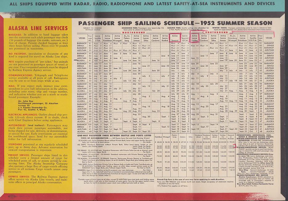 Alaska Steamship Line Sailing Schedule folder 1952 Summer Season