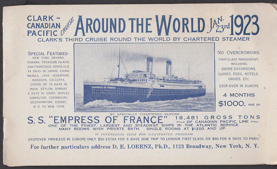 Clark Canadian Pacific S S Empress of France Around the World booklet 1923